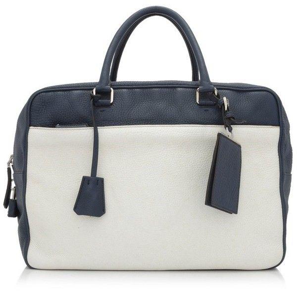 Pre-owned Prada Vitello Daino Duffle Bag ($600) ❤ liked on Polyvore featuring men's fashion, men's bags, blue, mens leather bag, mens leather duffle bag, prada mens bags, men's duffel bags and mens leather duffel bag
