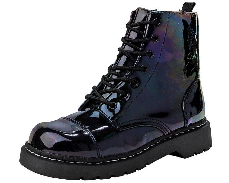 Iridescent Black Vegan Combat Boots   T.U.K. Shoes