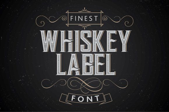 Vintage label whiskey style font by Vozzy on @creativemarket
