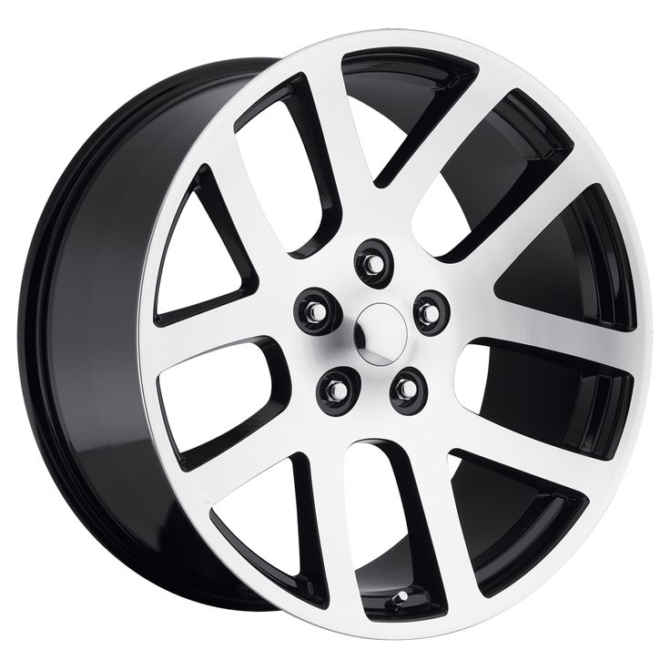 Dodge Ram 1998-2010 22x10 5x5.5  25.4 - SRT10 Replica Wheel -  Black Machine Face With Cap