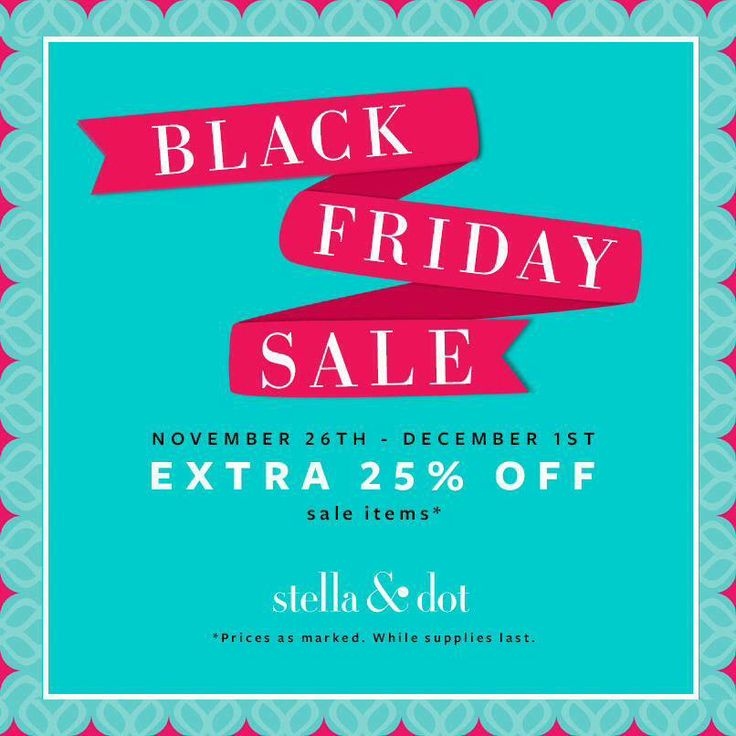 Breaking news!! Stella & Dot is having a Black Friday sale, and it's already live. Click http://www.stelladot.com/shop/en_us/sale/sale-all?s=skmalina to shop - no promo code needed. Wouldn't it be AWESOME to get all your holiday shopping done before Thanksgiving? And have everything delivered to your door within 3-5 business days? In adorable boxes? Yes, please!