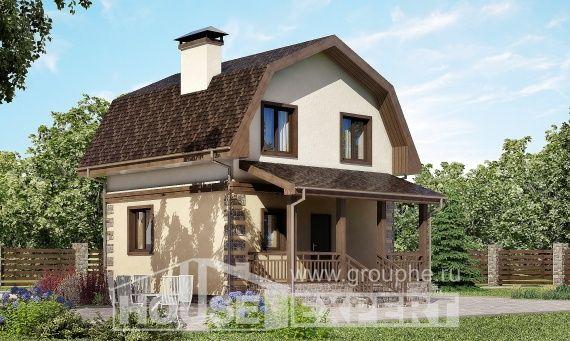 070-004-П Проект двухэтажного дома мансардой, недорогой домик из бризолита