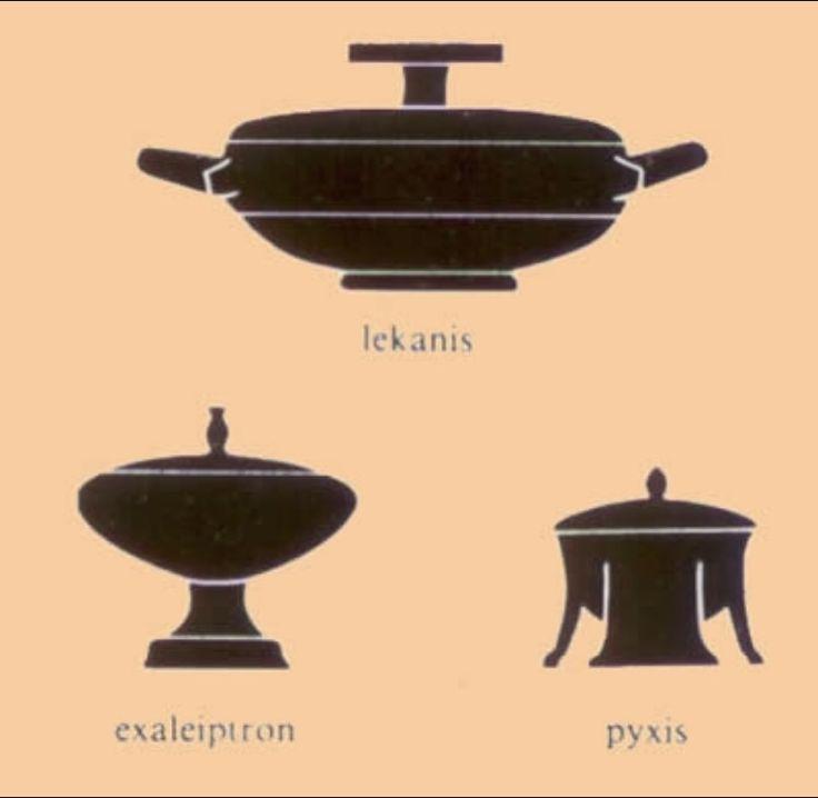 Cooking foods- lekinas- jug, Pyxis- jar, exaleipiron- urns