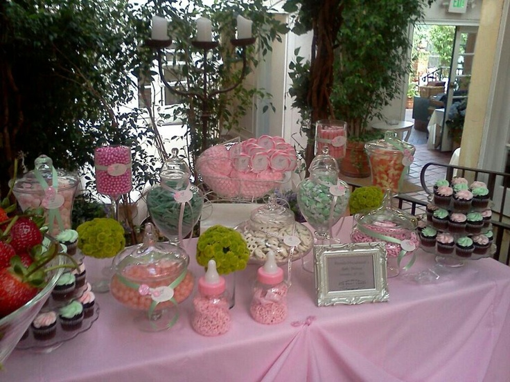 Eye Want Candy Creations Custom Buffets Mint Pink Bar For Baby Shower