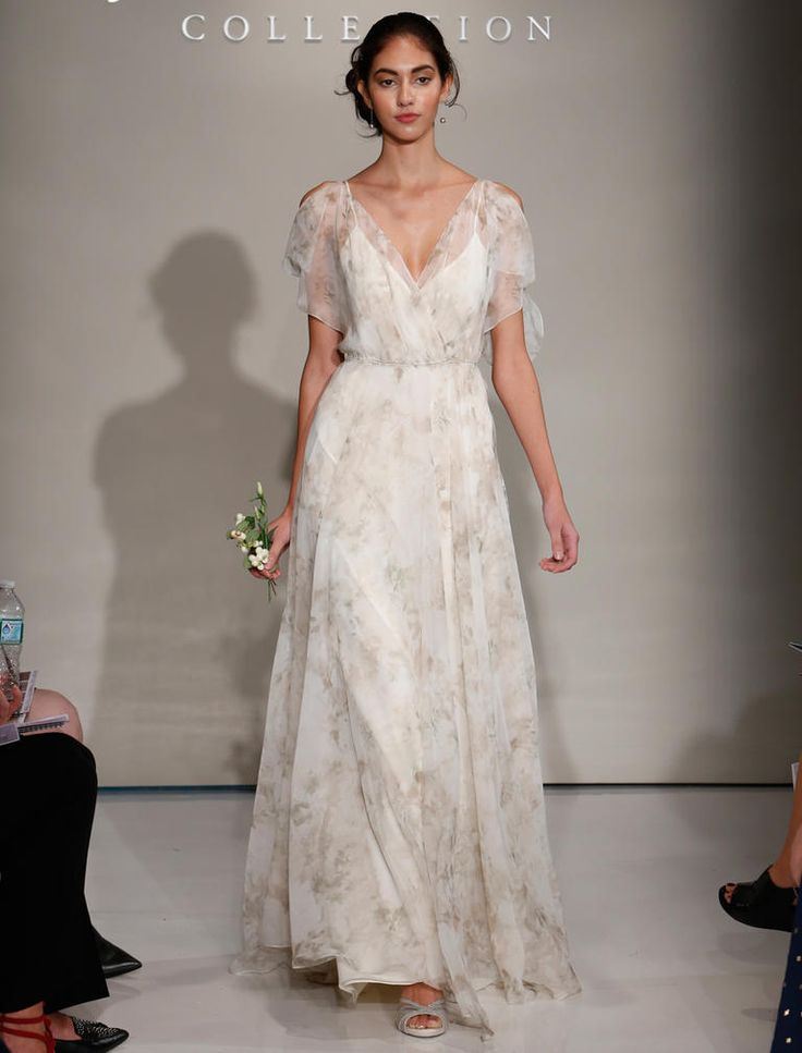 Jenny Yoo Fall 2016 grey patterned wedding dress with V neck and sheer open shoulder sleeves with flowing skirt | https://www.theknot.com/content/jenny-yoo-wedding-dresses-bridal-fashion-week-2016