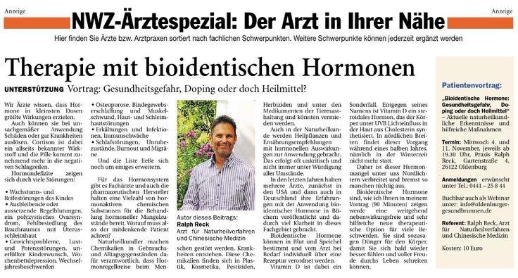 Diese Vortragsreihe startete im Oktober 2015 und beschreibt die individuelle Möglichkeit einfach und nebenwirkungsfrei mit bioidentischen Hormonen zu therapieren. Das führt zu verbessertem Schutz vor Osteoporose, Muskelschwund, Bindegewebserschlaffung, Hautalterung und Rückgang der geistigen Leistungsfähigkeit.