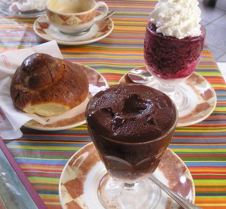 "A typical summer breakfast meal ""granite Siciliana"" (gra-nee-tah)"