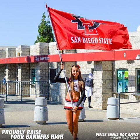 ⚫️ 2 days until our first football game! Come out to watch our Aztecs take on USD at Qualcomm Stadium. Kickoff is at 5pm #RiseUpAztecs #WeAreAztecs #SDSUCheerleading #BeBetter