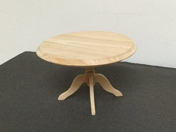 Dollhouse Miniature Round Dining Table Unfinished Wood 1 12 Scale