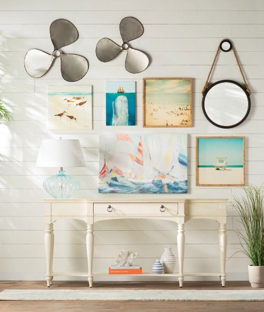 Coastal Entryway Design with Gallery Wall... Featured on Completely Coastal: http://www.completely-coastal.com/2017/06/coastal-entryway-designs-from-wayfair.html