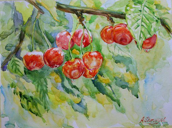 Watercolour fruits painting Red sweet cherry, tree branch, original artwork, kitchen wall art, decor, botanical, nature art, birthday gift