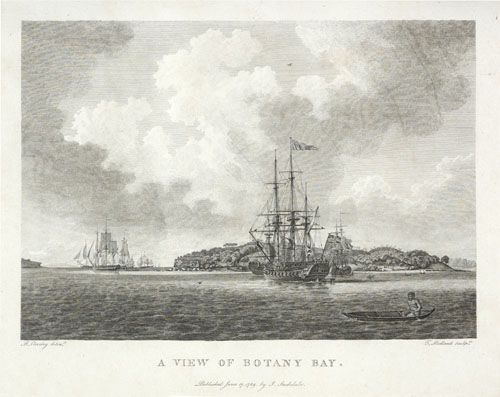 A view of Botany Bay from The voyage of Governor Phillip to Botany Bay, 1789 by Arthur Phillip, Engraving DL Q78/26