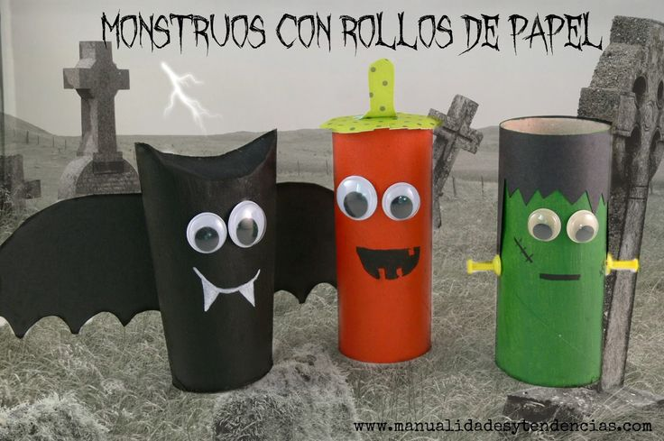 Halloween: monstruos con rollos de papel /Toilet paper roll monsters www.manualidadesytendencias.com #Halloween #reciclaje #rollosdepapel #toiletpaperrolls #crafts #kidscrafts #manualidadesinfantiles #manualidades