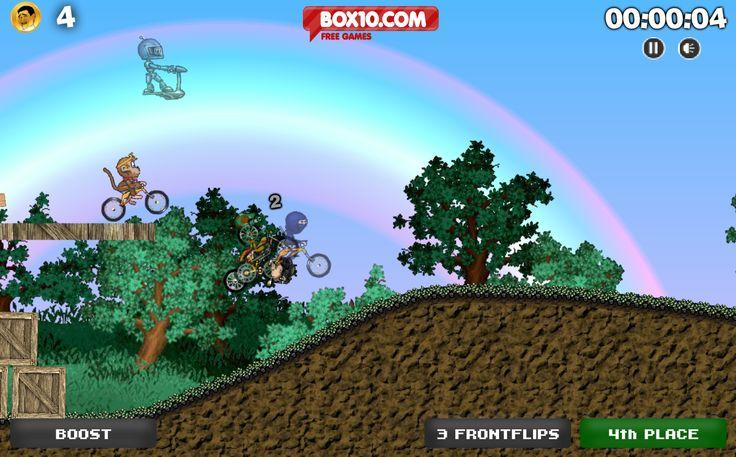 Tienes una carrera con tus extraños amigos con la bicicleta, maneja con cuidado y trata de no caer en el camino y dar ventaja a los otros competidores, el trucos es tener bien el equilibrio en los saltos.