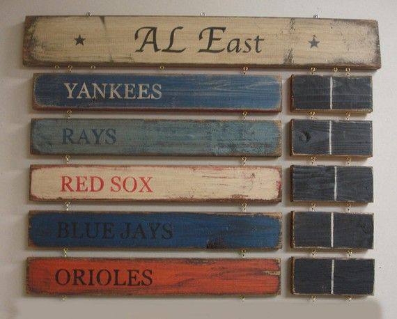 Baseball Standings board. Finley needs the whole league in his room. Save your pennies!