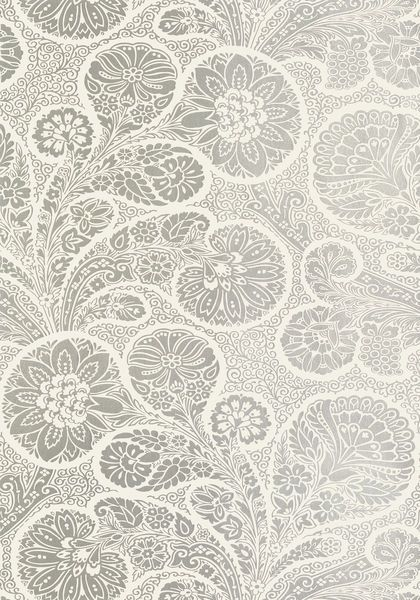 Troubadour wallpaper in metallic silver on cream from the Monterey collection. Thibaut