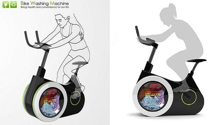 Sportif, écologique et économique, ce vélo d'appartement lave le linge à la force de vos mollets ! Pour garder la forme… et des vêtements propres !