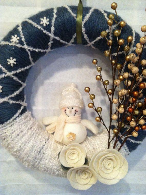 "OMG...this is definitely an ""I NEED"" v ""I WANT"" :)  Yarn Wreath felt handmade 12 winter by SweetCello on Etsy, $40.00"