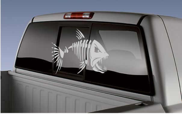 BONE FISH Truck/Car Sticker, Boat Decal, Fishing,Skeleton Fish Fishermen,  #LuckyCutsVinyl