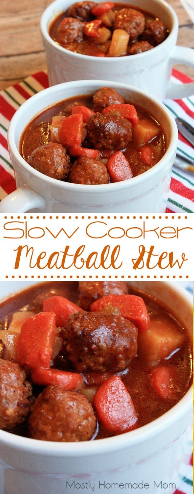Slow Cooker Meatball Stew - Carrots, celery, potatoes and meatballs with a delicious broth, prepared in the Crockpot! A perfect meal for a chilly night!