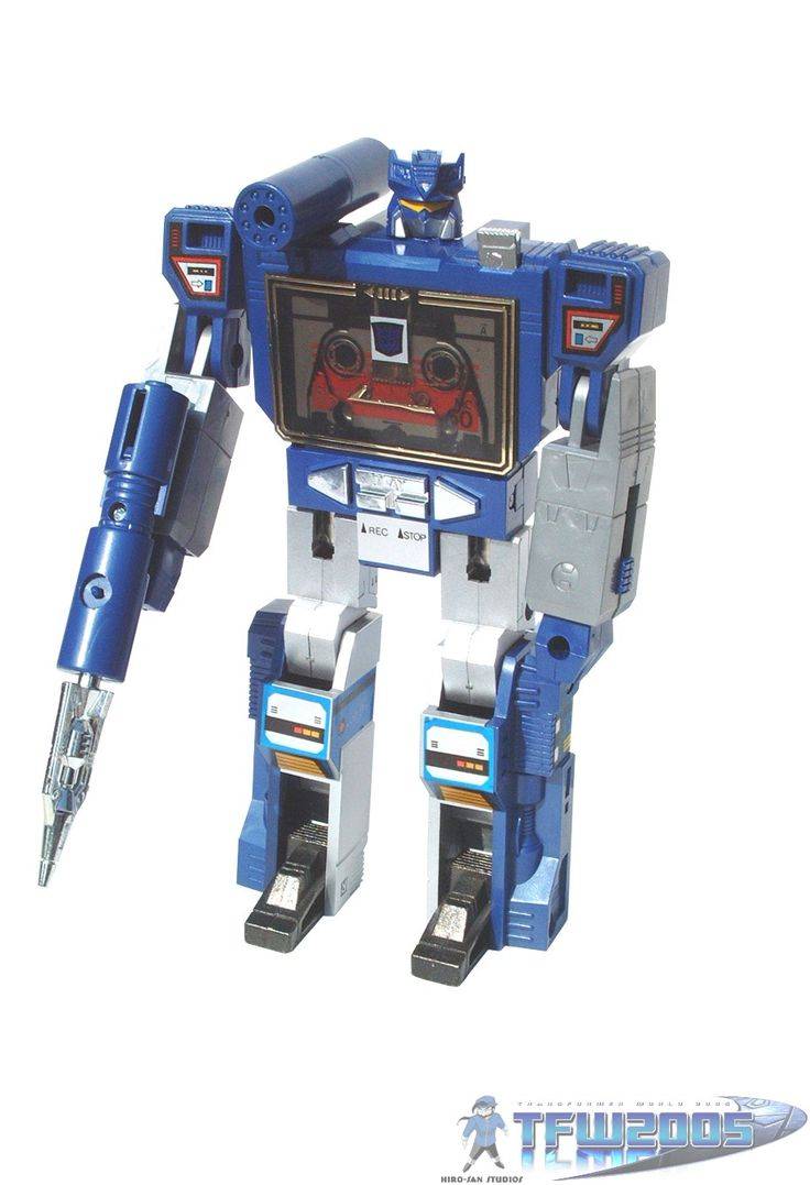 The original Decepticon Soundwave action figure, a Transformers toy that changed from a robot to a life-size microcassette recorder