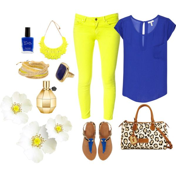 bright blue chiffon blouse neon yellow skinny jeans bright blue nail polish flowerbomb fragrance leopard print accessories