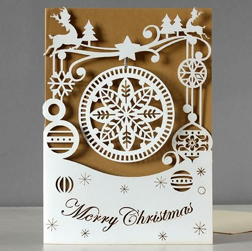 bauble snowflake laser-cut christmas card by alljoy