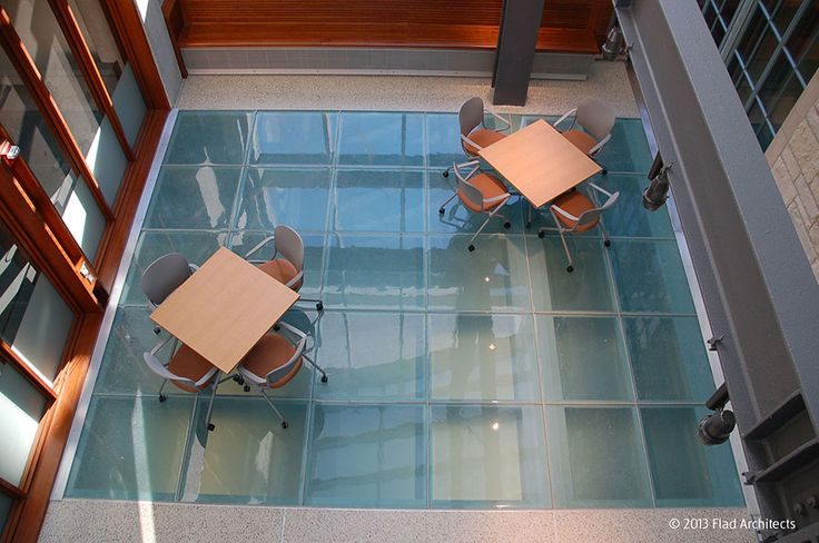 Project: Northwestern University Engineering Life Sciences. Location: Evanston, IL. Architect: Flad Architects. Product: Fireframes ClearFloor® fire-rated glass floor system