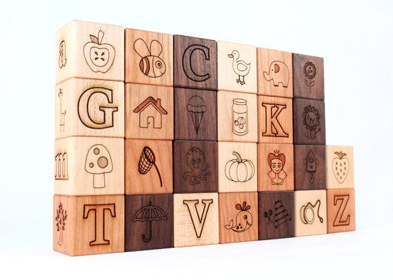 26-piece PICTURE ALPHABET block set - natural wooden toy blocks with letters, pictures,  words -  heirloom, educational gift for boy or girl on Etsy, $59.00