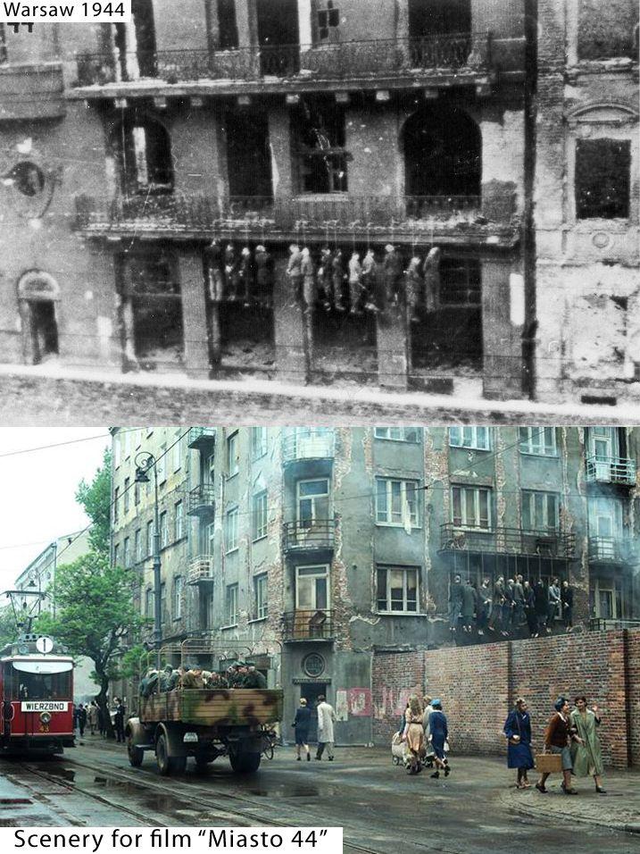 "Streets of Warsaw 1944 vs scenery for film ""Miasto 44"" by Jan Komasa."