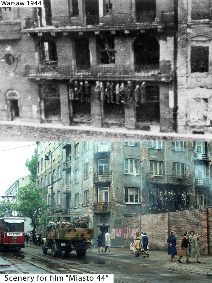 "Streets of Warsaw 1944 vs scenery for film ""Miasto 44"" by Jan Komasa."