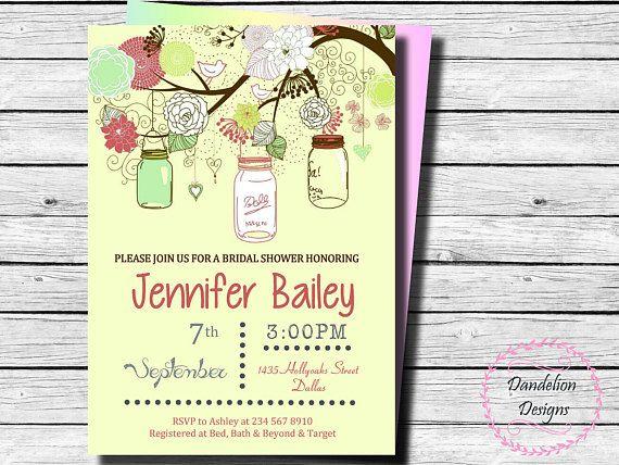 Bridal shower hanging mason jar invitation mason jar invite