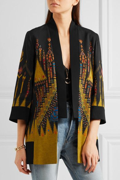ETRO Printed crepe jacket via net-a-porter / artsy bohemian vibes for Resort '17 in shades of mustard, blue and bright-orange with cropped bell sleeves