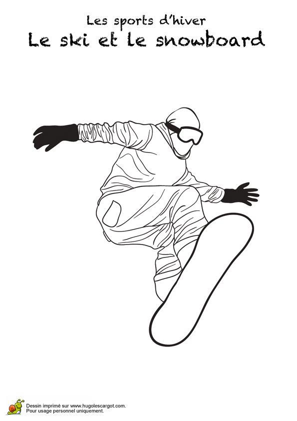 Coloriage d'un homme faisant du snowboard