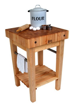 Butcher Block Carts with Pot Racks by John Boos - Butcher Block Islands also available at Kitchen Accessories Unlimited   Kitchensource.com