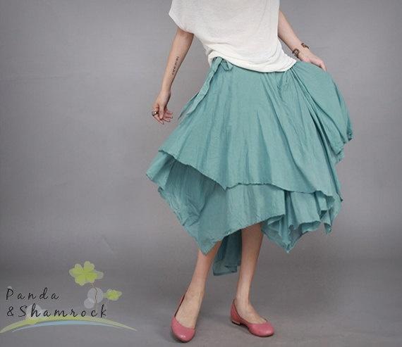 jade/women skirt/below by pandaandshamrock on Etsy, $70.00