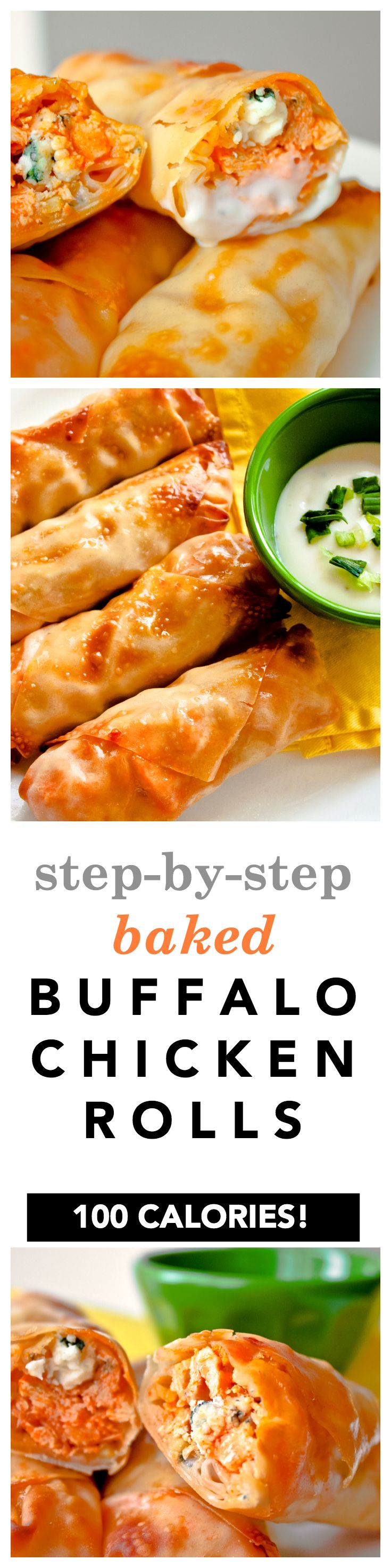 Baked Buffalo Chicken Egg Rolls Recipe! Here's the easy step by step guide showing you how to make healthy buffalo chicken rolls with egg roll wrappers, blue cheese, hot sauce, and broccoli slaw! Perfect as an appetizer but they also work as a main meal, too! 103 calories per roll