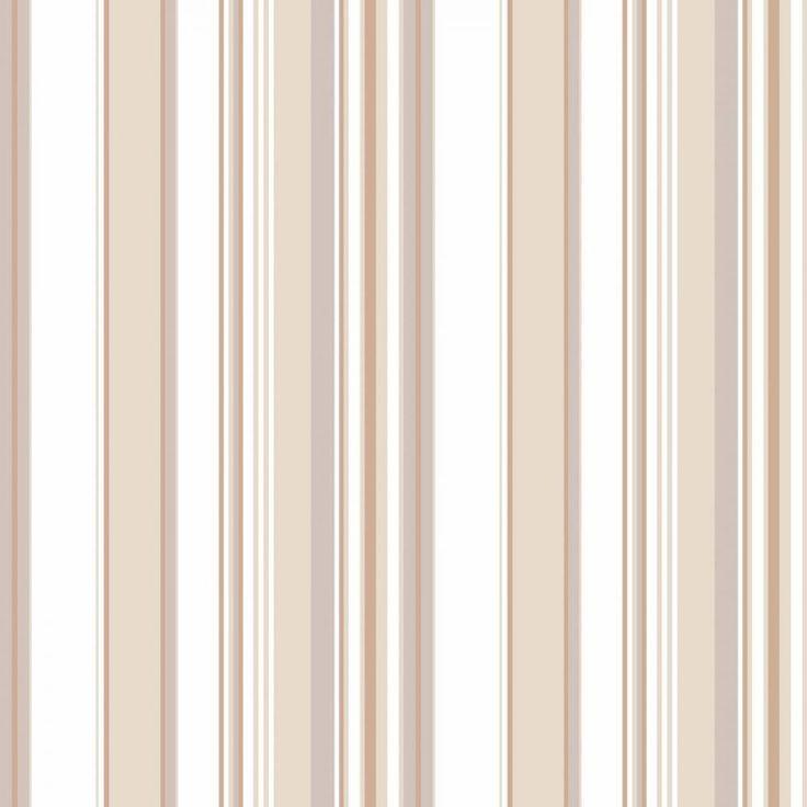 Papel de parede listrado tons de bege e branco - PA8919