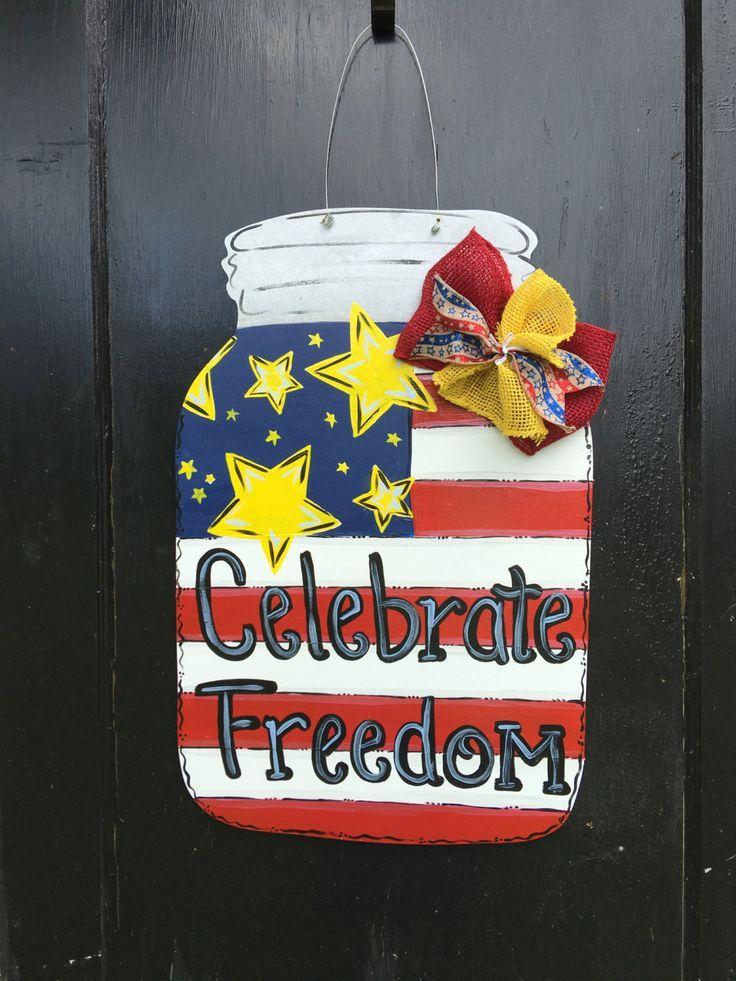 4th of july door hanger,Patriotic Mason Jar patriotic door hanger,flag door decor,Memorial Day decor, Flag Mason Jar,forth of July wreath by Furnitureflipalabama on Etsy