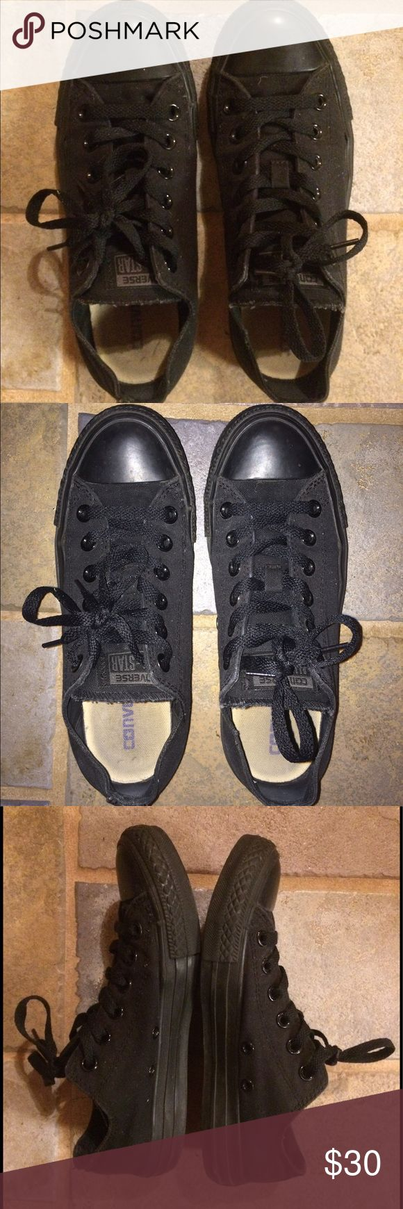All black low top Converse size 7 I don't ever wear these so they are wasting space in my closet. I did wear them a little bit so they are not brand new. They are a size 7 in woman's and a size 5 in men's. Nothing wrong with them just no longer want them. Converse Shoes Sneakers