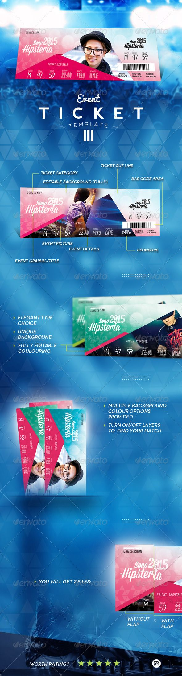 Event Ticket Template PSD. Download here: https://graphicriver.net/item/event-ticket-template-iii/7201437?ref=ksioks