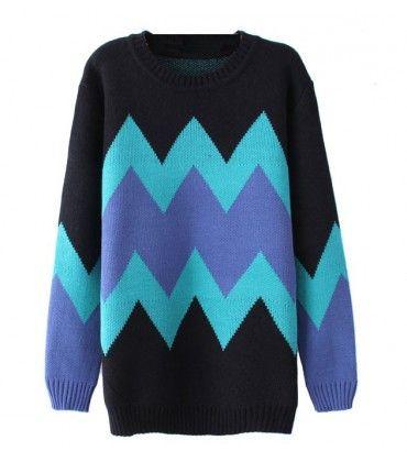 Pull géométrique oversize bleu turquoise