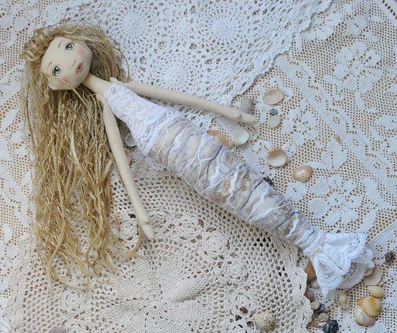 Mermaid doll  Fabric doll  Tilda doll  softie by PokoTiloToys #mermaid #doll #mermaiddoll
