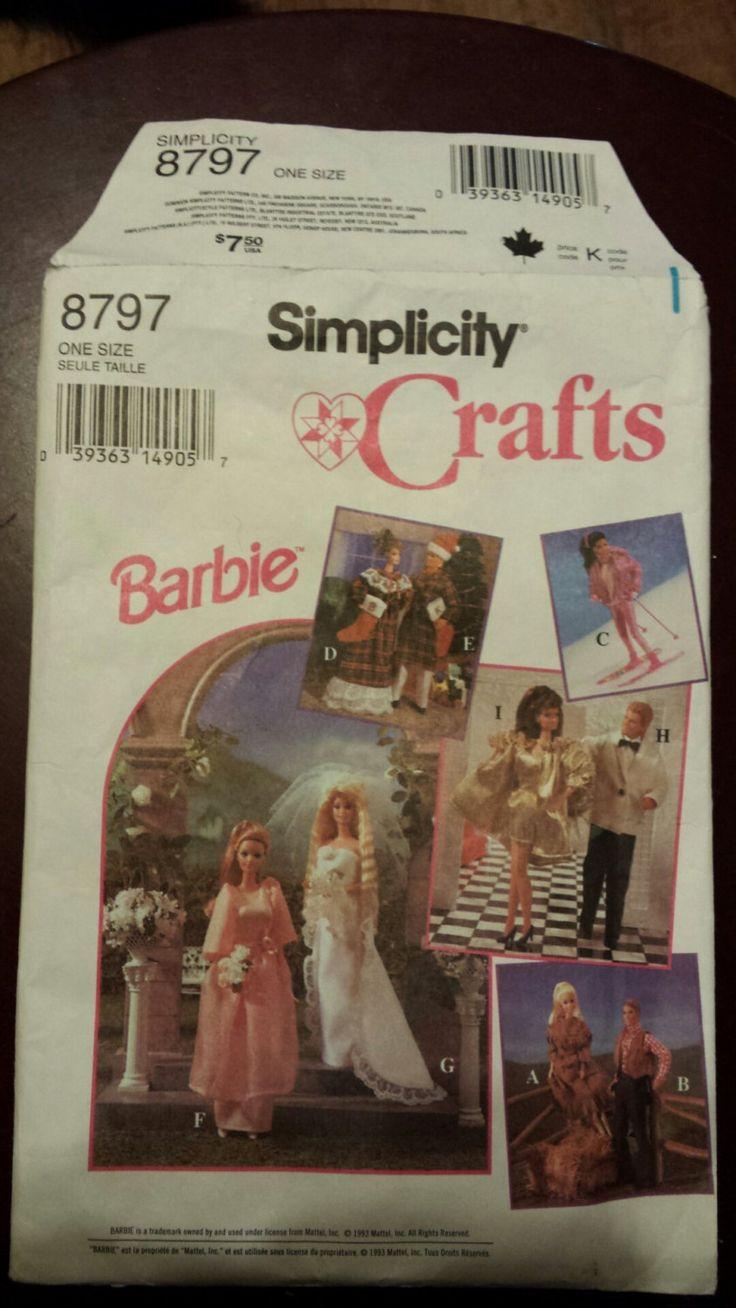 Barbie Wardrobe Pattern Uncut Simplicity 8797,  1994, Barbie, Ken and Friends by KathleenNCo on Etsy