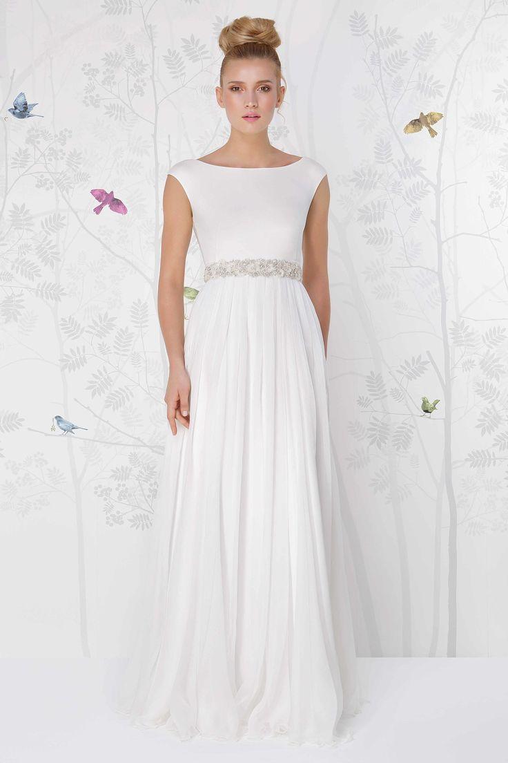 SADONI wedding dress LALEH with silk jersey boat neckline top, and flowy silk chiffon skirt