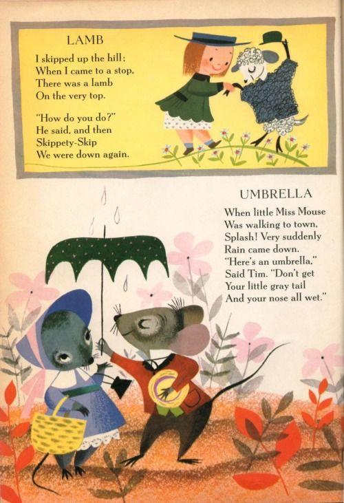 """Золотая книга маленькие стихи Мириам Кларк Поттер, проиллюстрированная Мэри Блэр Lamb—я пропустил в гору; когда я подошла к остановке, там был агнец на самом верху. """"как вы это делаете?"""", - сказал он, а затем Skippety-пропустить мы были там снова. Зонтик—когда little Miss Mouse шел к городу, Splash! Очень неожиданно дождь сошел. """"вот зонтик,"""", - сказал Тим. """"Дон'т получить ваш маленький серый хвост и нос весь мокрый."""""""