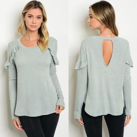 Sage Long Sleeve Ruffle Top, Tops for Fall, Women's Online Clothing Boutique