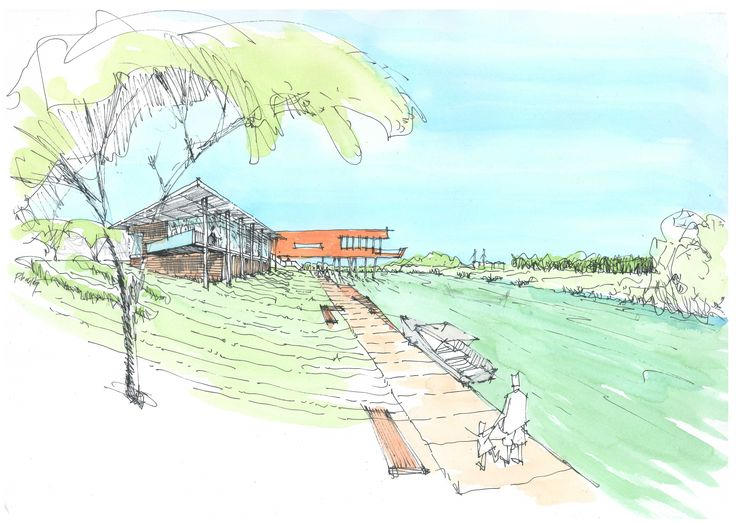 An early concept for the Te Awahou Museum and cultural Centre in Foxton.
