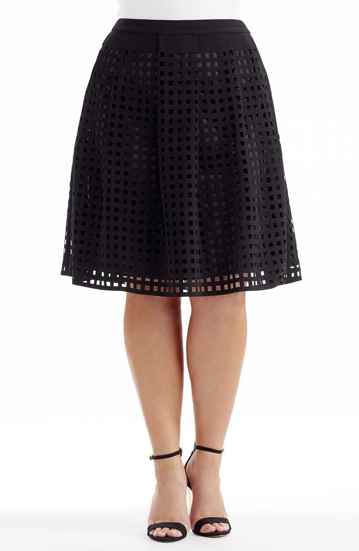 Laser Cut Skirt - Style No: SK8073 Laser cut textured twill skirt. This skirt has wide pleats and a plain waistband. It has an invisible zip at the back. the length measures 62cm waist band to hemline.  #dreamdiva #dreamdivafiles #plussize #fashion