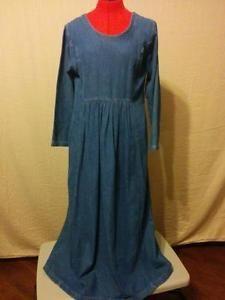 """Hippie Denim Dress 100% Cotton Sun Belt Empire Waist Side Seam Pockets """